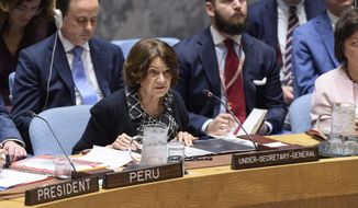 Rosemary DiCarlo, Under-Secretary-General for Political and Peacebuilding Affairs, briefs the United Nations Security Council on the situation in Ukraine, Tuesday, July 16, 2019 at UN headquarters. (Loey Felipe, UN Photo via AP)