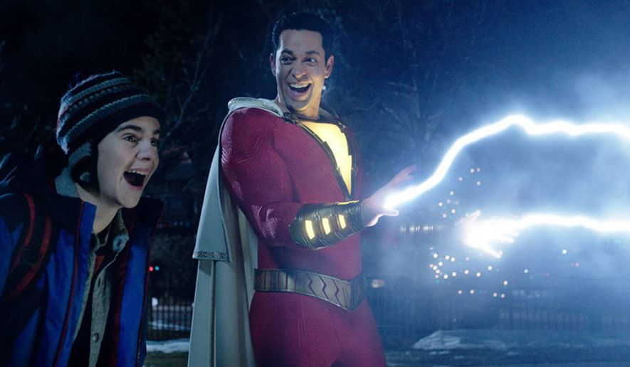 """A transformed Billy Batson (Zachary Levi) shows off his powers to Freddy Freeman (Jack Dylan Grazer) in """"Shazam,"""" now available on 4K Ultra HD from Warner Bros. Home Entertainment."""