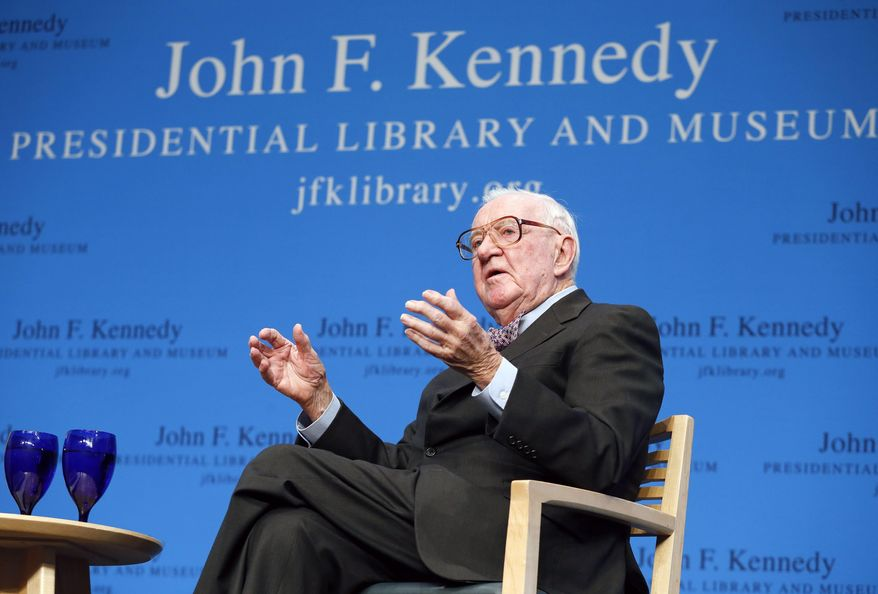 FILE - In this May 20, 2013 file photo, retired U.S. Supreme Court Justice John Paul Stevens talks about his views and career during a forum at the John F. Kennedy Library in Boston. Stevens, who served on the Supreme Court for nearly 35 years and became its leading liberal, has died on Tuesday, July 16, 2019, at age 99. (AP Photo/Michael Dwyer, File)