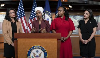 "From left, U.S. Reps. Rashida Tlaib, D-Mich., Ilhan Omar, D-Minn., Ayanna Pressley, D-Mass., and Alexandria Ocasio-Cortez, D-N.Y., respond to base remarks by President Donald Trump after he called for four Democratic congresswomen of color to go back to their ""broken"" countries, as he exploited the nation's glaring racial divisions once again for political gain, during a news conference at the Capitol in Washington, Monday, July 15, 2019. All four congresswomen are American citizens and three of the four were born in the U.S. Omar is the first Somali-American in Congress. (AP Photo/J. Scott Applewhite)"