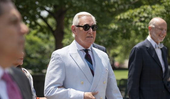 Roger Stone, a longtime confidant of President Donald Trump, leaves federal court in Washington on July 16, 2019. (AP Photo/Sait Serkan Gurbuz) **FILE**