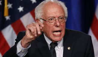 """Democratic presidential candidate, Sen. Bernie Sanders, I-Vt., gives a speech on his """"Medicare for All"""" proposal, Wednesday, July 17, 2019, at George Washington University in Washington. (AP Photo/Patrick Semansky)"""