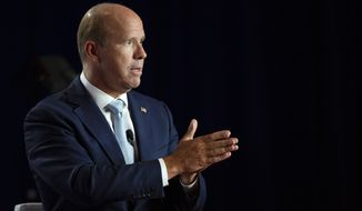 Former U.S. Rep. John Delaney, D-Md., speaks at the AARP Presidential Candidates Forum at the Hotel at Kirkwood Center in Cedar Rapids, Iowa, on Wednesday, July 17, 2019. (Olivia Sun/The Des Moines Register via AP)