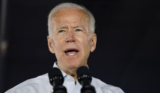 Democratic presidential candidate former Vice President Joe Biden speaks at a community event, Wednesday, July 17, 2019, in Council Bluffs, Iowa. (AP Photo/Charlie Neibergall)