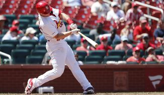 St. Louis Cardinals' Paul Goldschmidt hits a three-run home run during the seventh inning of a baseball game against the Pittsburgh Pirates Wednesday, July 17, 2019, in St. Louis. (AP Photo/Jeff Roberson)