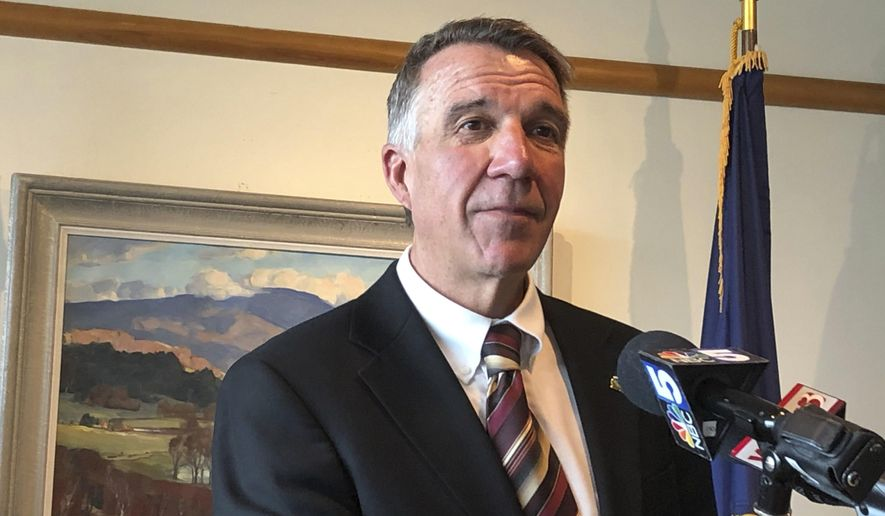 "Vermont Republican Gov. Phil Scott, speaking at a news conference in Montpelier, Vt., on Wednesday July 17, 2019, said he thought President Donald Trump's comments about four Democratic congresswomen of color were ""offensive"" and ""racist."" Scott said ""words matter and we've seen this same rhetoric used throughout history to discriminate, degrade and divide."" (AP Photo/Wilson Ring)"