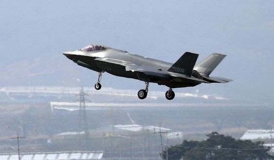 In this March 29, 2019, photo, a U.S. F-35A fighter jet prepares to land at Chungju Air Base in Chungju, South Korea.  (Kang Jong-min/Newsis via AP) **FILE**