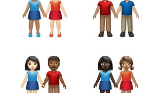 This image provided by Apple shows new emoji's released by Apple.  Both Apple and Google are rolling out dozens of new emojis that, as usual, included cute crittters, but also ones that expand the boundaries of inclusion. The announcement coincides with Wednesday, July 17, 2019 World Emoji Day.  (Apple via AP)
