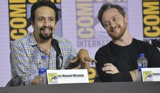 "Lin-Manuel Miranda, left, and James McAvoy participate in the ""His Dark Materials"" panel on day one of Comic-Con International on Thursday, July 18, 2019, in San Diego. (Photo by Richard Shotwell/Invision/AP)"