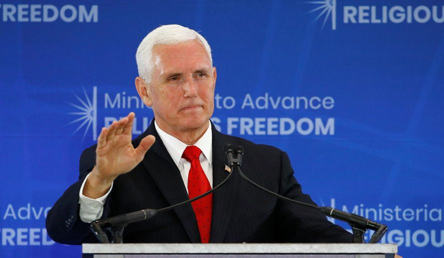 """""""Regrettably, the world's oldest hatred has found a voice in the halls of our United States Congress,"""" Vice President Mike Pence said on Thursday. (ASSOCIATED PRESS)"""
