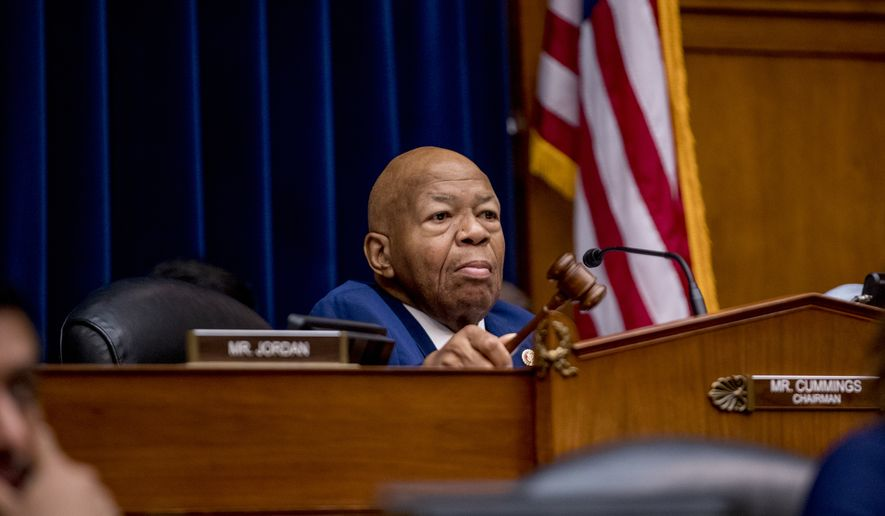 Chairman Rep. Elijah Cummings, D-Md., holds up his gavel as Acting Secretary of Homeland Security Kevin McAleenan appears before a House Committee on Oversight and Reform hearing on Capitol Hill in Washington, Thursday, July 18, 2019. (AP Photo/Andrew Harnik)