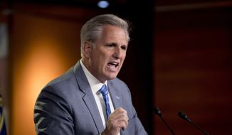 House Minority Leader Kevin McCarthy of Calif. meets with reporters on Capitol Hill in Washington, Thursday, July 18, 2019. (AP Photo/Andrew Harnik)