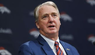 """FILE - In this Thursday, Jan. 10, 2019, file photo, Denver Broncos president Joe Ellis speaks during a news conference at the team's headquarters in Englewood, Colo. Ever since soon-to-be Hall of Famer Pat Bowlen stepped down from his daily duties as owner of the Denver Broncos, team president Joe Ellis ran the team in a """"What would Pat do"""" sort of way. With Bowlen's death last month, that's no longer the case. Ellis tells The Associated Press it's time for the Broncos to establish a new identity. (AP Photo/David Zalubowski, File)"""