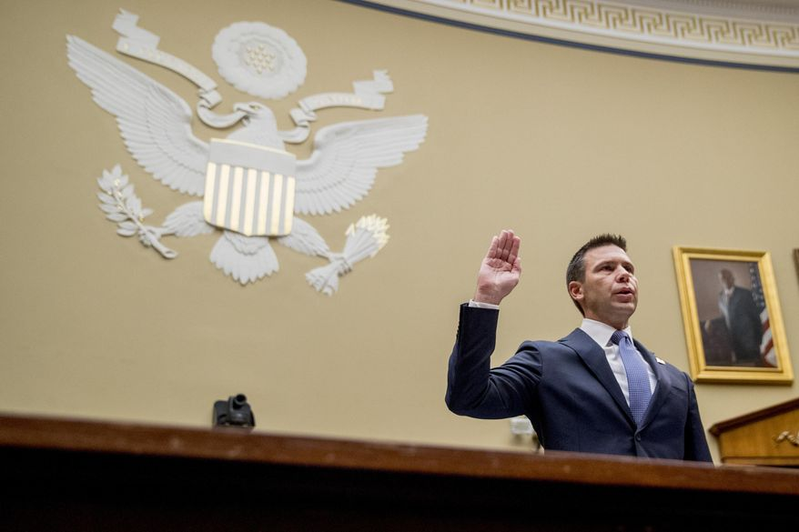 Acting Secretary of Homeland Security Kevin McAleenan is sworn in to testify before a House Committee on Oversight and Reform hearing on Capitol Hill in Washington, Thursday, July 18, 2019. (AP Photo/Andrew Harnik)