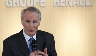 FILE - This Jan.24, 2019 file photo shows Jean-Dominique Senard after being appointed Renault chairman following a meeting of the board held at Renault headquarters in Boulogne-Billancourt, outside Paris. Renault Chairman Jean-Dominique Senard has expressed confidence that the French automaker's alliance with Japan's Nissan remains on track following the appointment of a new board in the wake of the scandal involving Carlos Ghosn, who chaired both companies. (AP Photo/Christophe Ena, File)