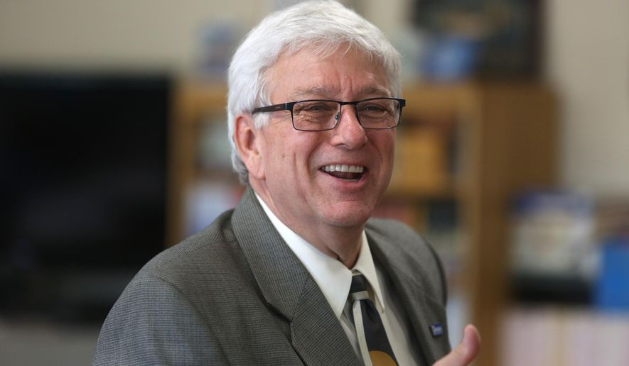 In a Wednesday, Sept. 18, 2013 photo, Jerry R. Foxhoven, executive director, Drake Legal Clinic, speaks at a meeting of the governor's task force at the Iowa Juvenile Home in Toledo, Iowa. Emails obtained by The Associated Press show that Iowa Department of Human Services Director Jerry Foxhoven routinely sent messages to employees lauding Shakur's music and lyrics even after at least one complained to lawmakers. Then in June 2019 he sent another such email to all 4,300 agency employees. He was abruptly ousted from his job the next work day.  (Charlie Litchfield/Des Moines Register via AP)