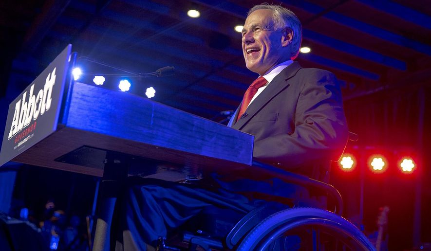 FILE - In this Nov. 6, 2018, file photo, Texas Gov. Greg Abbott speaks to supporters during the Texas GOP election night party at Brazos Hall in Austin, Texas. Abbott defeated Lupe Valdez in his re-election bid. Texas Republican leaders have urged state district and county attorneys to continue enforcing marijuana laws after several local prosecutors decided to drop pot possession cases amid confusion involving a new law legalizing hemp, Abbott together with other Republican officials said in a letter Thursday, July 18, 2019. (Nick Wagner/Austin American-Statesman via AP, File)