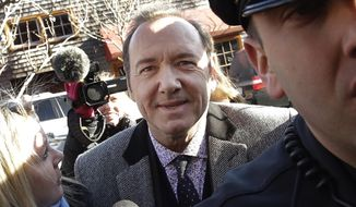 In this Jan. 7, 2019, file photo, actor Kevin Spacey arrives at district court in Nantucket, Mass. On Wednesday, July 17, prosecutors dropped the sexual assault case against Oscar-winning actor, who had been accused of groping 18-year-old man in 2016 in the crowded bar at the Club Car in Nantucket. (AP Photo/Steven Senne, File)