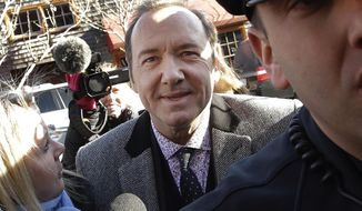 FILE - In this Jan. 7, 2019 file photo, actor Kevin Spacey arrives at district court in Nantucket, Mass. On Wednesday, July 17, prosecutors dropped the sexual assault case against Oscar-winning actor, who had been accused of groping 18-year-old man in 2016 in the crowded bar at the Club Car in Nantucket. (AP Photo/Steven Senne, File)