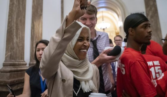 "Rep. Ilhan Omar, Minnesota Democrat, introduced a resolution this week that would affirm ""Americans have the right to participate in boycotts in pursuit of civil and human rights at home and abroad."" (Associated Press/File)"