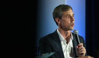Sen. Beto O'Rourke, D-Texas, speaks at the AARP Presidential Candidates Forum at the Sioux City Convention Center in Sioux City, Iowa, on Friday, July 19, 2019. (Olivia Sun/The Des Moines Register via AP)