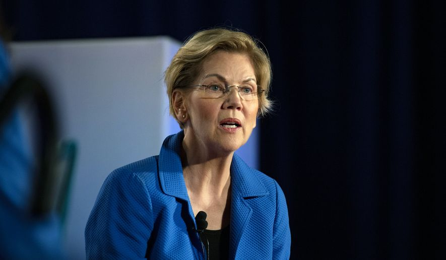 U.S. Sen. Elizabeth Warren, D-Mass., speaks at the AARP Presidential Candidates Forum at the Sioux City Convention Center in Sioux City, Iowa, on Friday, July 19, 2019. (Olivia Sun/The Des Moines Register via AP)