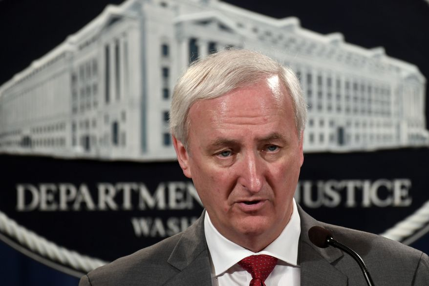Deputy Attorney General Jeffrey Rosen speaks during a news conference at the Justice Department in Washington, Friday, July 19, 2019. (AP Photo/Susan Walsh) ** FILE **