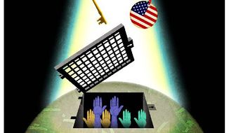 Illustration on America's role in promoting religious freedom in the world by Alexander Hunter/The Washington Times