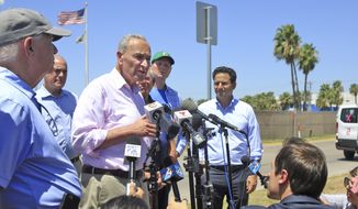Senate Minority Leader Chuck Schumer, (D-NY) speaks with the press along with other U.S. senators outside an immigration facility after a Democratic delegation toured Rio Grande Valley immigration detention facilities on Friday, July 19, 2019, in McAllen, Texas. (Joel Martinez/The Monitor via AP)