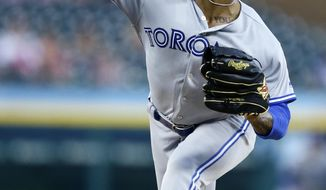Toronto Blue Jays' Marcus Stroman pitches against the Detroit Tigers during the second inning of a baseball game, Friday, July 19, 2019, in Detroit. (AP Photo/Duane Burleson)
