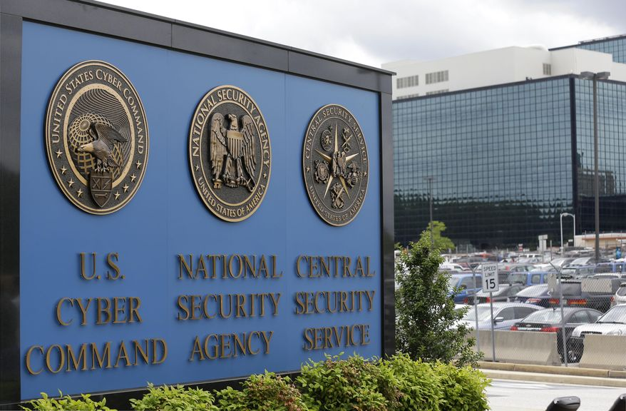 This June 6, 2013, file photo, shows the sign outside the National Security Administration (NSA) campus in Fort Meade, Md. (AP Photo/Patrick Semansky, File)