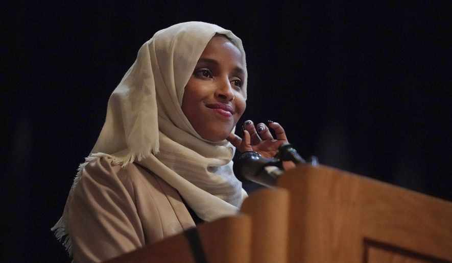 U.S. Rep. Ilhan Omar, D-Minn., holds a Medicare for All town hall with other lawmakers, Thursday, July 18, 2019, in Minneapolis. (Richard Tsong-Taatarii/Star Tribune via AP)