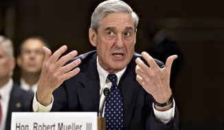 In this June 19, 2013, file photo, then-FBI Director Robert Mueller testifies on Capitol Hill in Washington. When special counsel Mueller testifies before Congress it will be a moment many have been waiting for, but it comes with risk for Democrats. (AP Photo/J. Scott Applewhite, file)