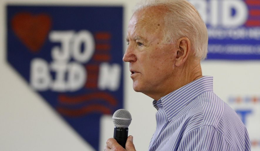 Former Vice President and Democratic presidential candidate Joe Biden speaks during a campaign event at an electrical workers union hall Saturday, July 20, 2019, in Las Vegas. (AP Photo/John Locher)