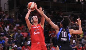 Elena Delle Donne scored 28 points, including all four 3-point attempts, in a 93-65 win over the Atlanta Dream on Sunday. (Teri Priebe/Special to the Washington Times)