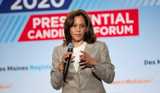 U.S. Sen. Kamala Harris, D-Calif., speaks at the AARP Presidential Forum at the Waterfront Convention Center in Bettendorf, Iowa on Tuesday, July 16, 2019.  (Olivia Sun/The Des Moines Register via AP) ** FILE **