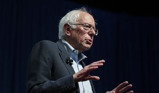 U.S. Sen. Bernie Sanders speaks at the AARP Presidential Candidates Forum at the Arts Center at Iowa Western in Council Bluffs, Iowa, on Saturday, July 20, 2019. (Olivia Sun/The Des Moines Register via AP)