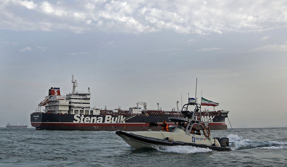 The Islamic Revolutionary Guard Corps' capture Friday of the British oil tanker Stena Impero indicates that Iran is deadly serious about its policy of trying to control all maritime traffic in the Strait of Hormuz. (Associated Press)
