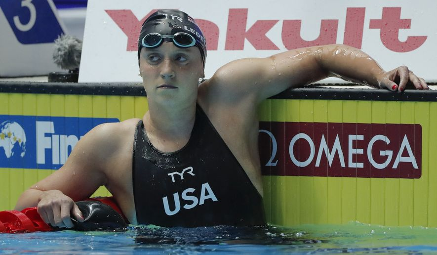 United States' Katie Ledecky, reacts after he second place finish in the women's 400m freestyle final at the World Swimming Championships in Gwangju, South Korea, Sunday, July 21, 2019. (AP Photo/Lee Jin-man)