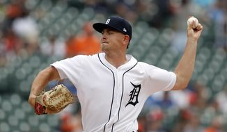 Detroit Tigers starting pitcher Tyler Alexander throws during the first inning of a baseball game against the Toronto Blue Jays, Sunday, July 21, 2019, in Detroit. (AP Photo/Carlos Osorio)