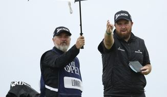 Ireland's Shane Lowry gestures as he looks dome the 6th hole from the tee during the final round of the British Open Golf Championships at Royal Portrush in Northern Ireland, Sunday, July 21, 2019.(AP Photo/Peter Morrison)