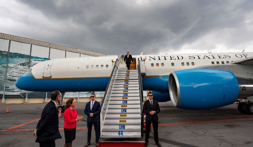 CORRECTS DAY OF ARRIVAL - In this handout photo released by the U.S. State Department, Secretary of State Mike Pompeo deplanes in Mexico City, Saturday, July 20, 2019. Pompeo met with his Mexican counterpart Marcelo Ebrard on Sunday near the end of a Latin American tour. (U.S. State Department via AP)