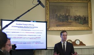 White House Senior Adviser Jared Kushner speaks about border security to President Donald Trump and others during a Cabinet meeting in the Cabinet Room of the White House, Tuesday, July 16, 2019, in Washington. (AP Photo/Alex Brandon)