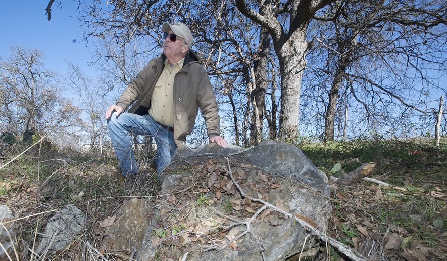 In this Wednesday, Dec. 21, 2016 photo, John Yearwood kneels near a cave entrance on his property where Bone Cave harvestmen may live in Georgetown, Texas. Yearwood wants the federal government to remove the species from the endangered list because it makes it hard to do some activities on the 865-acre property that has been in his family since the 19th century. Since the spider-like creatures are only found in Travis and Williamson Counties, Yearwood and others argue it shouldn't come under federal protection.  (Andy Sharp/Austin American-Statesman via AP)