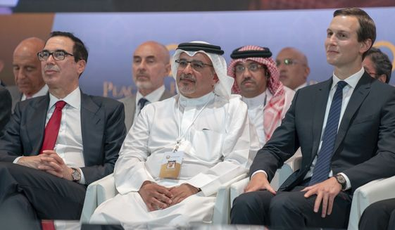 "In this Tuesday, June 25, 2019, photo released by Bahrain News Agency, from left to right, U.S. Treasury Secretary Steven Mnuchin, Bahrain Crown Prince Salman bin Hamad Al Khalifa and White House senior adviser Jared Kushner attend the opening session of the ""Peace to Prosperity"" workshop in Manama, Bahrain. Amid heavy skepticism and deep doubts about prospects for success, the Trump administration on Tuesday was convening an international conference to promote its ambitious but heavily criticized $50 billion economic support plan for the Palestinians. (Bahrain News Agency via AP)"