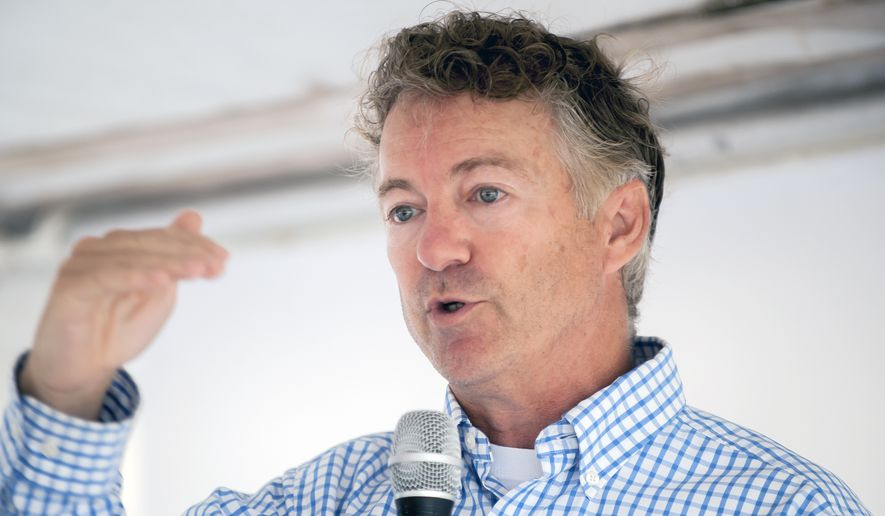 U.S. Sen. Rand Paul, R-Ky., speaks Monday, July 22, 2019, during a ribbon-cutting ceremony for Amneal Pharmaceuticals in Glasgow, Ky. (Bac Totrong)/Daily News via AP) ** FILE **