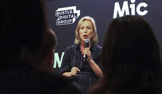 Democratic presidential candidate Kirsten Gillibrand speaks, Monday, July 22, 2019, in New York. Gillibrand said that she doesn't regret calling for Al Franken's resignation from the Senate and that female senators are being blamed for it in a way their male colleagues are not. (AP Photo/Robert Bumsted)