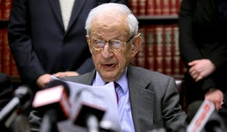 """In this Dec. 16, 2009, file photo, Manhattan District Attorney Robert Morgenthau speaks during a press conference in New York. Morgenthau, the longest-serving former Manhattan district attorney who tried mob kingpins, music stars and white-collar criminals and inspired a character on """"Law & Order,"""" has died. He was 99. His wife, Lucinda Franks, told The New York Times that Morgenthau died Sunday, July 21, 2019, at a Manhattan hospital after a short illness.  (AP Photo/Bebeto Matthews, File)"""