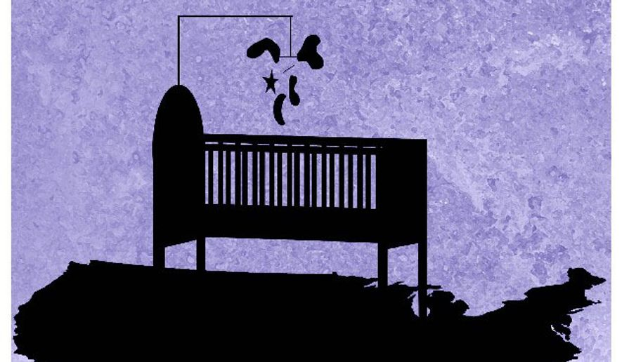 Illustration on optimism and birthrates by Alexander Hunter/The Washington Times