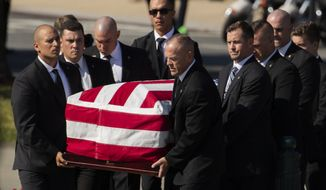 Pallbearers carry the casket containing the remains of former Supreme Court Justice John Paul Stevens, in front the U.S. Supreme Court in Washington, Monday, July 22, 2019. (AP Photo/Manuel Balce Ceneta)